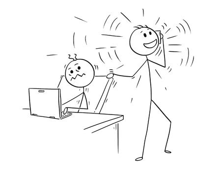 Cartoon stick man dibujo ilustración conceptual del empresario u oficinista perturbado por teléfono móvil llamando colega