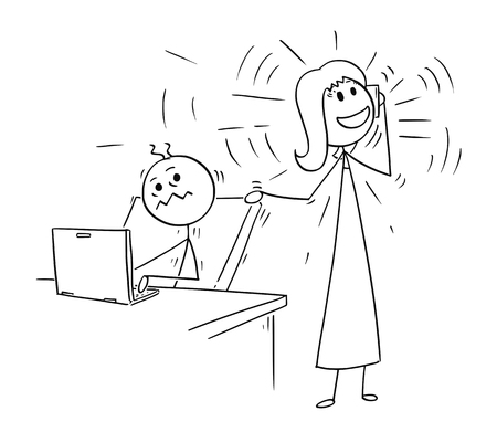Cartoon stick man drawing conceptual illustration of businessman or office worker disturbed by mobile phone calling colleague