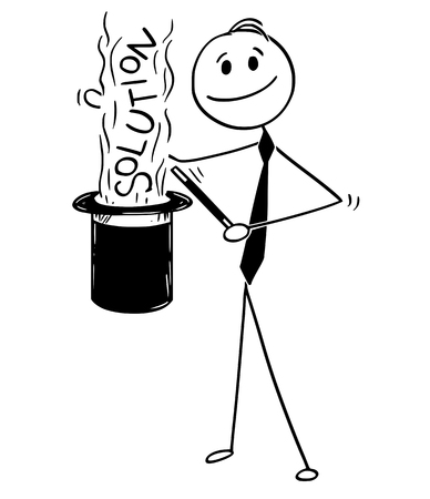 Cartoon stick man drawing conceptual illustration of businessman magician and magic problem solution from his cylinder top hat.
