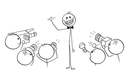 Cartoon stick man drawing illustration of male star celebrity with large crazy artificial smile