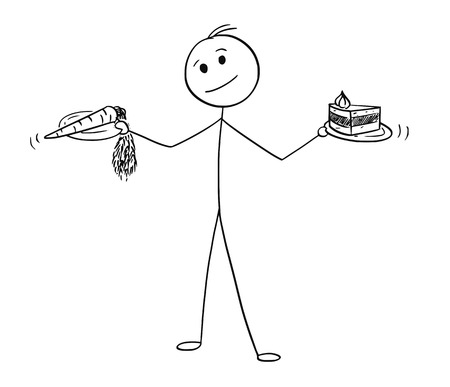 Cartoon stick man drawing conceptual illustration of man with healthy vegetable carrot and unhealthy cake in hands Ilustração