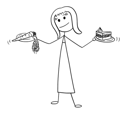 Cartoon stick man drawing conceptual illustration of woman with healthy vegetable carrot and unhealthy cake in hands Vektorové ilustrace