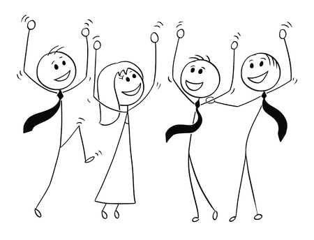 Cartoon stick man drawing conceptual illustration of group or team of business people celebrating success.