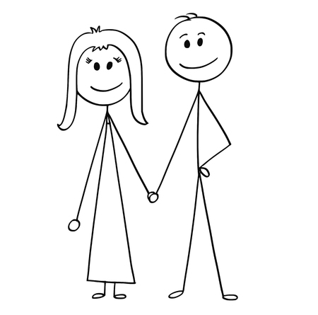 Cartoon stick man drawing illustration of happy couple of man and woman.
