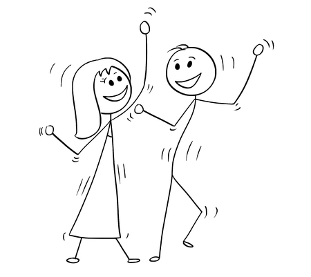 Cartoon drawing illustration of couple dancing pop disco.