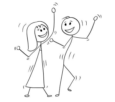 Cartoon drawing illustration of couple dancing pop disco.
