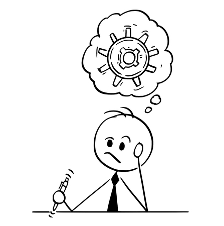 Cartoon stick man drawing conceptual illustration of businessman thinking hard trying to find problem solution. Vectores