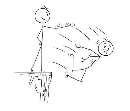 Cartoon stick man drawing conceptual illustration of man or businessman pushing competitor from high cliff. Business concept or unfair competition or rivalry.