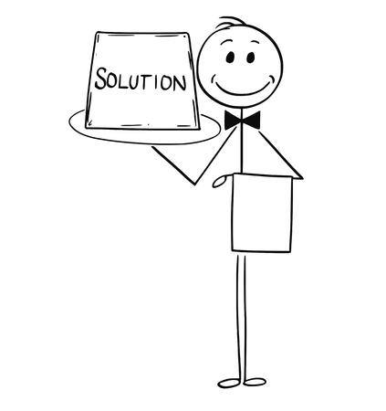 De stokmens die van het beeldverhaal conceptuele illustratie van kelnersholding en aanbiedingsdienblad met teken trekken. Bedrijfsconcept van eenvoudige oplossing.