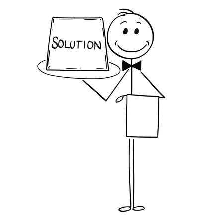Cartoon stick man drawing conceptual illustration of waiter holding and offer tray with sign. Business concept of easy solution.