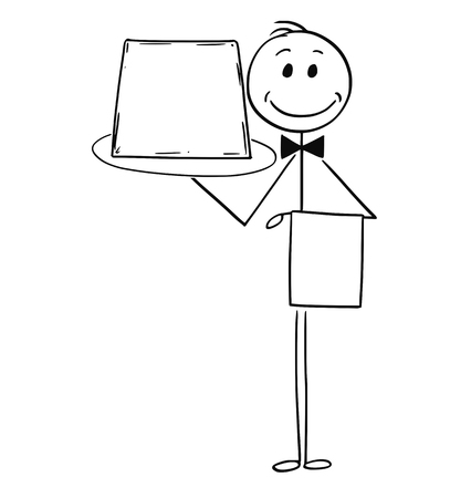 Cartoon stick man drawing conceptual illustration of waiter holding tray with empty or blank sign. Vectores