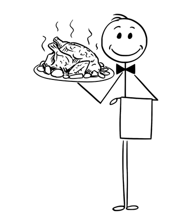 Cartoon stick man drawing conceptual illustration of waiter holding silver plate or tray with roast chicken or turkey. 일러스트