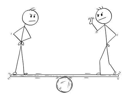 Cartoon stick man drawing conceptual illustration of two man, workers or business teammates measured for their individual contribution to team.