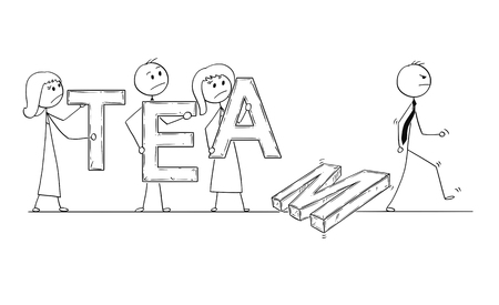 Cartoon stick man drawing conceptual illustration of business people, businessmen and businesswomen holding letters of word team, but one businessman is leaving and team is breaking down. Business concept of teamwork and cooperation.
