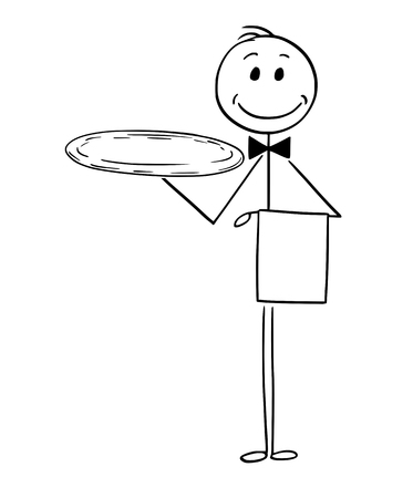 Cartoon stick man drawing conceptual illustration of waiter holding empty silver tray. Vectores