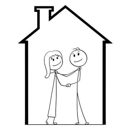 Cartoon stick man drawing conceptual illustration of young couple dreaming about new house and home. Concept of property and mortgage. Illustration