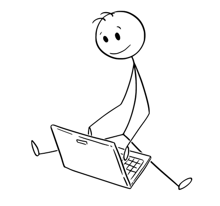 Cartoon stick man drawing conceptual illustration of man or businessman sitting on ground in outdoor and working on laptop notebook. Business concept of new technology.  イラスト・ベクター素材