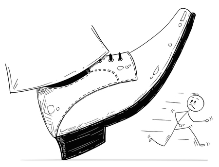 Cartoon stick man drawing conceptual illustration of large foot in shoe ready to step down on running businessman. Business concept of pressure and competition.