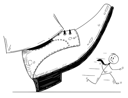 Conceptual illustration of large foot in shoe ready to step down on running businessman. Vectores