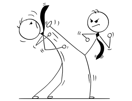 Cartoon stick man drawing conceptual illustration of two businessmen kung fu or karate fighting. Business concept of competition and rivalry.