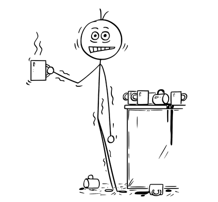 Cartoon stick man drawing conceptual illustration of overworked businessman under pressure overdosed by caffeine from coffee. Business concept of stress and unhealthy lifestyle. Vetores