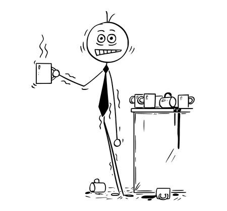 Karikaturstockmann, der Begriffsillustration des überarbeiteten Geschäftsmannes unter dem Druck überdosiert durch Koffein vom Kaffee zeichnet. Geschäftskonzept des Druckes und des ungesunden Lebensstils.