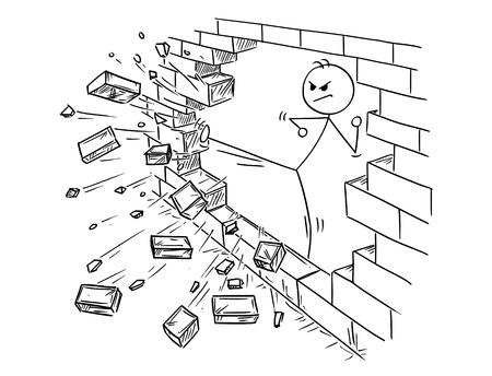 Illustrazione concettuale dell'uomo d'affari che fa calcio di kung-fu o di karatè per distruggere il muro di mattoni.