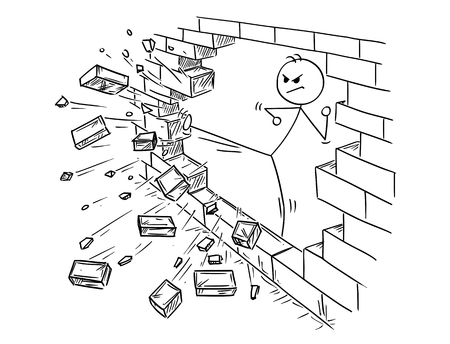 Conceptual illustration of businessman doing kung-fu or karate kick to destroy the brick wall.