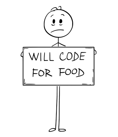 Conceptual illustration of sad hungry unemployed man or businessman holding large will code for food sign. Иллюстрация