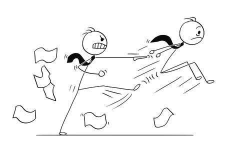 Ilustración conceptual del empresario despedido o expulsado del trabajo por el jefe o gerente enojado.
