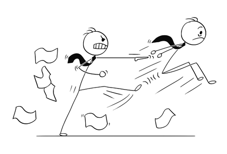 Conceptual illustration of Businessman fired or kicked out of the job by angry boss or manager.