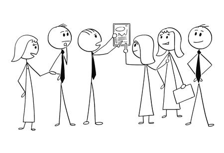 Cartoon stick man dessin illustration conceptuelle de l'équipe commerciale ou d'un groupe d'hommes d'affaires et de femmes d'affaires travaillant ensemble pour trouver une solution au problème. Concept de travail d'équipe et de remue-méninges.