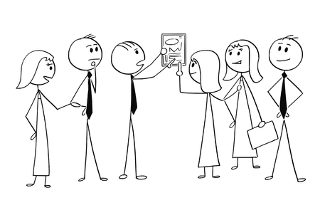 Cartoon stick man drawing conceptual illustration of business team or group of businessmen and businesswomen working together to find problem solution. Concept of teamwork and brainstorming. Illustration