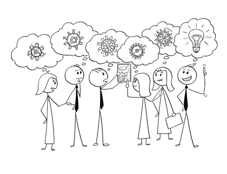 Cartoon stick man drawing conceptual illustration of business team or group of businessmen and businesswomen working together to find problem solution, one Businessman just get the idea. Concept of teamwork and brainstorming.