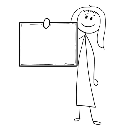 Cartoon stick man drawing conceptual illustration of woman or businesswoman holding empty or blank sing in front of him.