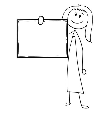 Der Karikaturstockmann, der Begriffsillustration der Frau oder der Geschäftsfrau halten leer oder leer zeichnet, singen vor ihm.