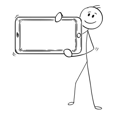 Hombre del palillo de dibujos animados que dibuja la ilustración conceptual del hombre de negocios que sostiene el teléfono móvil grande delante de él como muestra vacía o en blanco.