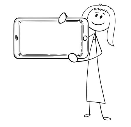 Cartoon stick man drawing conceptual illustration of woman or businesswoman holding large mobile phone in front of him as empty or blank sign.