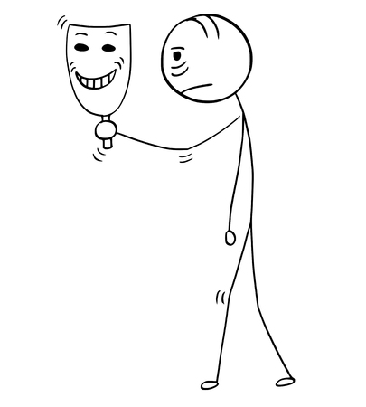 Cartoon stick man drawing conceptual illustration of sad or tired businessman holding and showing happy smiling theater mask. Business concept of pretense and insisted false enthusiasm. Ilustração