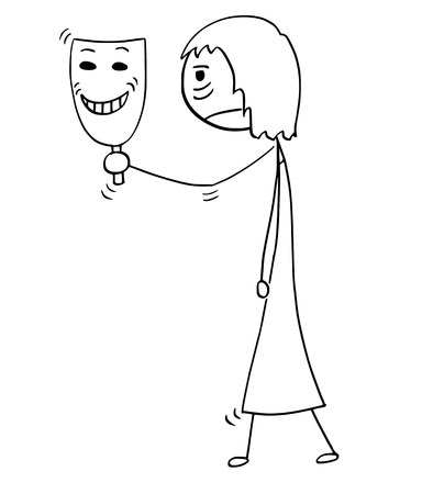 Cartoon stick man drawing conceptual illustration of sad or tired woman or businesswoman holding and showing happy smiling theater mask. Business concept of pretense and insisted false enthusiasm.
