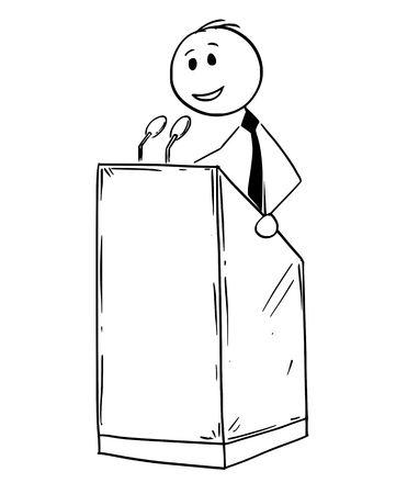 Cartoon stick man drawing conceptual illustration of businessman or business speaker or orator making speech or talking to public on podium behind lectern. Illustration