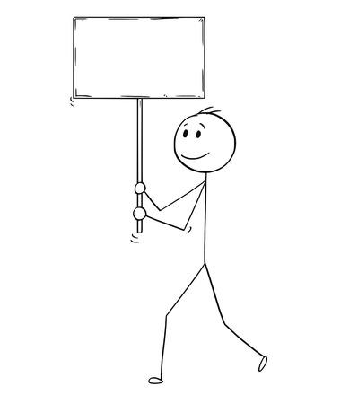Cartoon stick man dibujo ilustración conceptual del empresario caminando con signo vacío o en blanco.