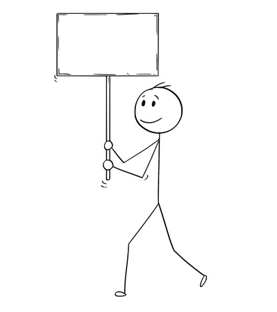 Cartoon stick man drawing conceptual illustration of businessman walking with empty or blank sign.