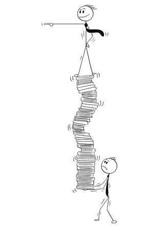 Cartoon stick man drawing conceptual illustration of businessman carry and balance manager standing and pointing on top of high pile of office files and folders.