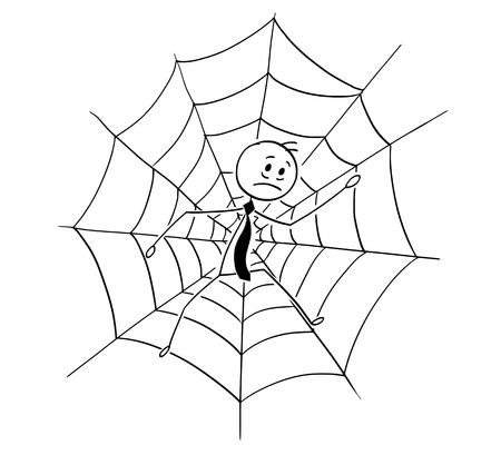 Cartoon stick man drawing conceptual illustration of businessman trapped in spider web. Business concept of competition, risk and fail. Stock Illustratie