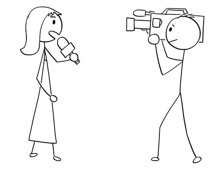 Cartoon stick man drawing illustration of TV or television news woman female reporter and cameraman.