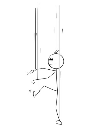 Cartoon stick man drawing conceptual illustration of businessman as puppet or marionette without his own will. Business concept of authority, control and manipulation.