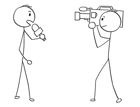 Cartoon stick man drawing illustration of TV or television news reporter and cameraman. Illustration