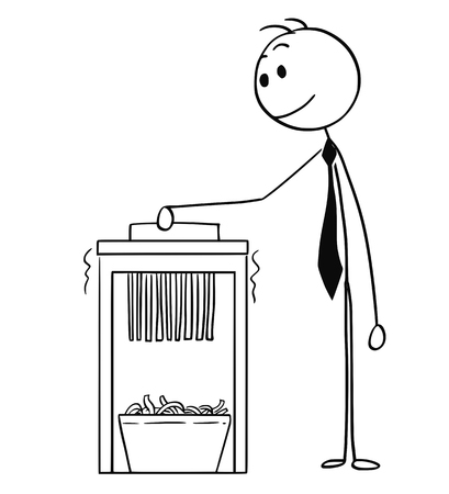 Cartoon stick man drawing conceptual illustration of businessman using office paper shredder.