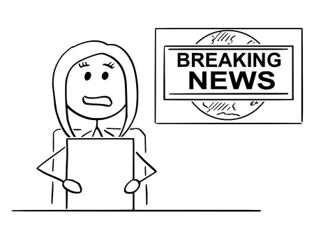 Cartoon stick man drawing illustration of woman or female television news reporter or presenter.